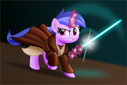 Size: 5000x3380 | Tagged: safe, artist:jhayarr23, sea swirl, seafoam, pony, unicorn, background pony, clothes, commission, female, jedi, jedi knight, jedi robe, levitation, lightsaber, magic, mare, robes, smiling, solo, star wars, telekinesis, weapon