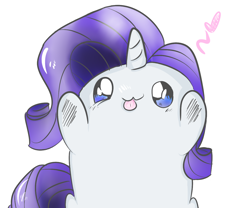 Size: 1300x1080 | Tagged: safe, artist:strabarybrick, rarity, pony, unicorn, :3, :p, blob ponies, chibi, cute, female, floating heart, heart, looking at you, mare, raribetes, rarity is a marshmallow, simple background, solo, tongue out, white background