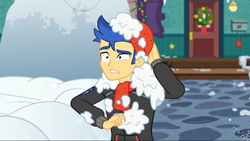 Size: 1280x720 | Tagged: safe, screencap, flash sentry, equestria girls, equestria girls series, holidays unwrapped, spoiler:eqg series, spoiler:eqg series (season 2), hat, male, snow