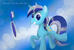 Size: 4873x3300 | Tagged: safe, artist:thevintagepone, minuette, pony, unicorn, brushie brushie, looking at you, magic, solo, this will end in brushie, toothbrush