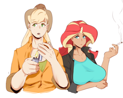 Size: 620x493 | Tagged: safe, artist:sundown, applejack, sunset shimmer, human, equestria girls, breasts, busty sunset shimmer, cigarette, duo, female, horn, horned humanization, humanized, smoking
