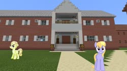Size: 1334x750 | Tagged: safe, cloud kicker, golden glitter, crystal pony, pony, house, looking at you, minecraft