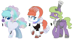 Size: 1024x535 | Tagged: safe, artist:midnightamber, oc, earth pony, galarian ponyta, pegasus, pony, ponyta, vulpix, adoptable, adopts, adopts for sale, alolan vulpix, bases used, blowing bubblegum, crossed legs, curly hair, female, food, galarian weezing, gum, hat, male, mare, multicolored hair, paypal, pokemon theme, pokémon, raised hoof, top hat, wavey hair, wavy mustache