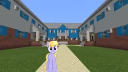 Size: 1334x750   Tagged: safe, cloud kicker, pegasus, pony, house, looking at you, minecraft, photoshop