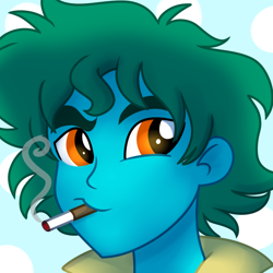 Size: 1000x1000 | Tagged: safe, artist:wubcakeva, oc, oc only, oc:azure glide, equestria girls, alternate hairstyle, anime, bust, cigarette, commission, cowboy bebop, male, smoking, spike spiegel