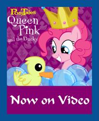 Size: 931x1134 | Tagged: safe, artist:ianpony98, pinkie pie, bird, duck, series:pony tales, bubble, crown, jewelry, poster, poster parody, regalia, veggietales