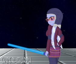 Size: 1656x1399 | Tagged: safe, artist:cyber-murph, sugarcoat, twi'lek, equestria girls, clothes, commission, crossover, glasses, hood, lightsaber, pigtails, signature, space, species swap, star wars, twintails, weapon