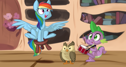 Size: 1278x687 | Tagged: safe, artist:php27, edit, owlowiscious, rainbow dash, spike, bird, dragon, owl, pegasus, pony, testing testing 1-2-3, cropped, cute, dashabetes, drums, female, golden oaks library, happy, male, mare, mlpgdraws, musical instrument, open mouth, scene interpretation, spikabetes, spread wings, stool, stooldash, wings