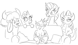 Size: 727x424 | Tagged: safe, artist:jargon scott, gallus, ocellus, silverstream, smolder, yona, changedling, changeling, dragon, griffon, hippogriff, yak, couch, female, gallabuse, male, monochrome, part of a set, piper perri surrounded, simple background, stunned, white background