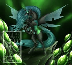 Size: 900x808 | Tagged: safe, artist:bluekite-falls, queen chrysalis, changeling, changeling queen, badass, cocoon, egg, fangs, female, glowing eyes, glowing horn, horn, long mane, long tail, obtrusive watermark, open mouth, rearing, sharp teeth, solo, spread wings, teeth, tongue out, watermark, wings