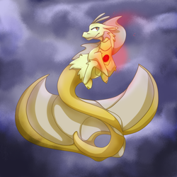Size: 2952x2952 | Tagged: safe, artist:voxaz, adagio dazzle, siren, cloud, female, floating, impossibly large tail, looking at you, narrowed eyes, solo, storm