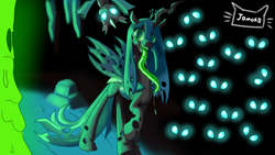 Size: 3840x2160 | Tagged: safe, artist:jomok0, queen chrysalis, changeling, changeling queen, drool, eyes in the dark, female, glowing eyes, long tongue, simple background, tongue out