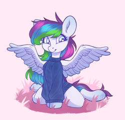 Size: 2192x2092 | Tagged: safe, artist:sugarstar, oc, oc only, oc:rain, pegasus, clothes, female, grass, looking away, mare, simple background, sitting, smiling, solo, spread wings, sweater, wings