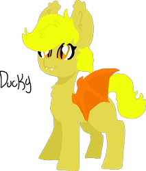 Size: 797x934 | Tagged: safe, artist:nootaz, oc, oc:ducky, bat pony, bat pony oc, bat wings, ear tufts, fangs, simple background, slit eyes, spread wings, transparent background, wings