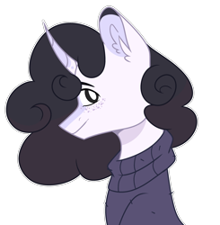 Size: 2720x2772 | Tagged: safe, artist:chococolte, oc, oc:pelo, pony, unicorn, bust, clothes, portrait, simple background, solo, sweater, transparent background