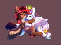 Size: 2162x1610 | Tagged: safe, artist:sugarstar, oc, oc only, oc:ducheved, pegasus, crown, cute, eyes closed, female, heart, hug, jewelry, love, male, mare, regalia, shipping, simple background, smiling, spread wings, stallion, teeth, wings