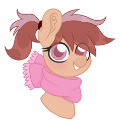 Size: 876x912 | Tagged: safe, artist:ninnydraws, oc, oc only, oc:chestnut, earth pony, clothes, scarf, simple background, solo, transparent background, ych result