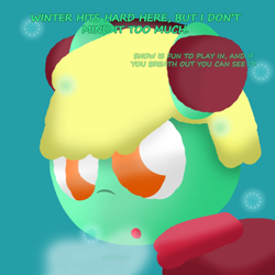 Size: 1000x1000 | Tagged: safe, oc, oc:goldy, amber eyes, breath, clothes, coat, earmuffs, green fur, implied cold, phew, simple shading, snow, solo, sound effect, winter, yellow mane