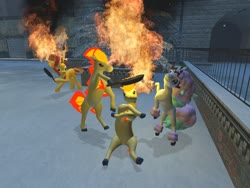 Size: 1024x768 | Tagged: safe, artist:horsesplease, sunset shimmer, galarian ponyta, ponyta, 3d, annoyed, bacon, fiery shimmer, food, gmod, mane of fire, meat, pokémon, ponies eating meat, roasting, upset, walking campfire