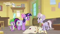 Size: 1920x1080 | Tagged: safe, screencap, dusty pages, spike, twilight sparkle, alicorn, dragon, pony, the point of no return, spoiler:s09e05, bag, letter, saddle bag, twilight sparkle (alicorn), winged spike