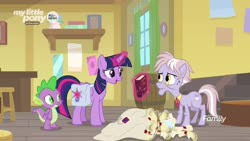 Size: 1920x1080 | Tagged: safe, screencap, dusty pages, spike, twilight sparkle, alicorn, dragon, pony, the point of no return, spoiler:s09e05, bag, book, letter, magic, saddle bag, twilight sparkle (alicorn), winged spike