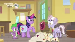 Size: 1920x1080 | Tagged: safe, screencap, dusty pages, spike, twilight sparkle, alicorn, dragon, pony, the point of no return, bag, book, letter, magic, saddle bag, twilight sparkle (alicorn), winged spike, wings