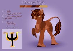 Size: 3500x2454   Tagged: safe, artist:clay-bae, oc, oc:chocolate truffle, pony, unicorn, male, offspring, parent:cheese sandwich, parent:pinkie pie, parents:cheesepie, solo, stallion