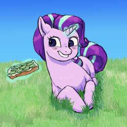 Size: 1118x1119 | Tagged: artist needed, safe, artist:anonymous, starlight glimmer, pony, unicorn, bread, cucumber, cucumber sandwiches, food, glowing horn, grass, grin, horn, lying down, sandwich, smiling, solo