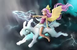 Size: 1280x836 | Tagged: safe, artist:vyazinrei, fluttershy, human, equestria girls, boots, clothes, cloud, dress, lightning, long hair, shoes, thunderstorm, wings