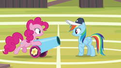 Size: 1920x1080 | Tagged: safe, screencap, pinkie pie, rainbow dash, 2 4 6 greaaat, spoiler:s09e15, party cannon