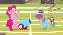 Size: 1920x1080 | Tagged: safe, screencap, pinkie pie, rainbow dash, 2 4 6 greaaat, spoiler:s09e15, buckball field, confetti, party cannon