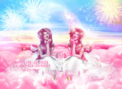 Size: 900x654   Tagged: safe, artist:ladykraken, pinkie pie, human, cloud, duality, fireworks, humanized, pinkamena diane pie