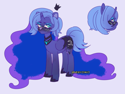 Size: 2043x1536 | Tagged: safe, artist:nebychko, princess luna, alicorn, pony, alternate design, constellation freckles, excessive catchlights, looking at you, solo, violet background