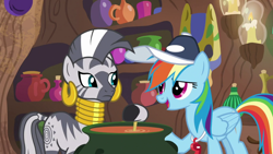 Size: 1920x1080 | Tagged: safe, screencap, rainbow dash, zecora, 2 4 6 greaaat, spoiler:s09e15