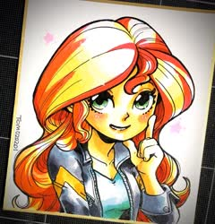 Size: 1769x1846 | Tagged: safe, artist:babtyu, sunset shimmer, equestria girls, clothes, female, jacket, leather jacket, looking at you, solo, traditional art