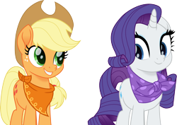 Size: 4244x3000 | Tagged: safe, artist:cloudyglow, applejack, rarity, earth pony, pony, unicorn, rainbow roadtrip, spoiler:rainbow roadtrip, female, looking back, mare, simple background, smiling, transparent background, vector