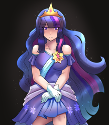 Size: 800x920 | Tagged: safe, artist:tzc, twilight sparkle, alicorn, human, the last problem, black background, blue hair, clothes, coronation dress, crossed arms, crown, cute, dress, female, human princess twilight, humanized, jewelry, light skin, long hair, looking forward, multicolored hair, older, older twilight, pink hair, princess twilight 2.0, purple hair, regalia, second coronation dress, simple background, solo, standing, twiabetes, twilight sparkle (alicorn)