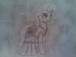 Size: 1280x960 | Tagged: artist needed, safe, oc, oc only, oc:pun, earth pony, pony, ask pun, ask, clothes, dress, female, floppy ears, gala dress, mare, monochrome, solo, traditional art