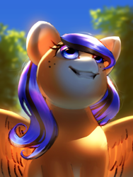Size: 2256x3000 | Tagged: safe, artist:klooda, oc, pegasus, pony, detailed, detailed background, female, happy, mare, smiling, solo, summer, sun, tree, wings