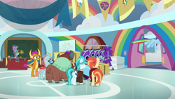 Size: 1920x1080 | Tagged: safe, screencap, lighthoof, ocellus, shimmy shake, smolder, snips, yona, changedling, changeling, dragon, earth pony, pegasus, pony, unicorn, yak, 2 4 6 greaaat, spoiler:s09e15, bow, cheerleader outfit, clothes, cloven hooves, colt, dragoness, female, flying, hair bow, hat, hay bale, male, mare, monkey swings