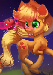 Size: 1240x1754   Tagged: safe, artist:tony-retro, applejack, earth pony, pony, apple, chest fluff, cute, ear fluff, female, food, jackabetes, leg fluff, mare, obligatory apple, open mouth, solo