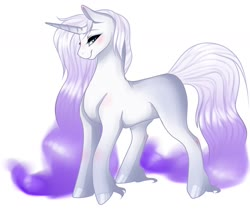 Size: 1512x1278 | Tagged: safe, rarity, pony, unicorn, female, g5, g5 concept leak style, gradient mane, gradient tail, hooves, mare, rarity (g5), redesign, simple background, solo, unshorn fetlocks, white background