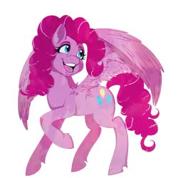 Size: 900x900 | Tagged: safe, pinkie pie, pegasus, pony, leak, spoiler:g5, female, g5, mare, pegasus pinkie pie, pinkie pie (g5), race swap, redesign, smiling, solo, wings