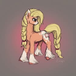 Size: 750x750 | Tagged: safe, applejack, earth pony, pony, leak, spoiler:g5, applejack (g5), braid, braided tail, female, g5, hooves, mare, redesign, solo