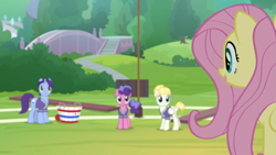 Size: 1920x1080 | Tagged: safe, screencap, berry blend, berry bliss, fluttershy, november rain, pegasus, pony, 2 4 6 greaaat, spoiler:s09e15, buckball field, female, friendship student, mare, open mouth, solo focus