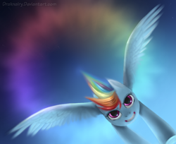 Size: 1050x857 | Tagged: safe, artist:draknairy, rainbow dash, pegasus, pony, awesome, fast, female, flying, mare, sky, sonic rainboom, spread wings, wings