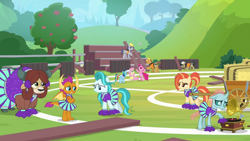 Size: 1920x1080   Tagged: safe, screencap, ambrosia, cindy block, fluttershy, jack hammer, lighthoof, ocellus, pinkie pie, rainbow dash, rivet, shimmy shake, smolder, steam roller (character), yona, 2 4 6 greaaat, spoiler:s09e15, apple, apple tree, buckball field, cheerleader, cheerleader outfit, clothes, gramophone, hay bale, record, tree