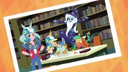 Size: 1280x720 | Tagged: safe, screencap, applejack, big macintosh, snails, snips, trixie, a queen of clubs, equestria girls, spoiler:eqg series, bookshelf, clothes, costume, fake beard, rpg, wizard