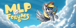 Size: 2048x768 | Tagged: safe, artist:the-barinade, artist:thomas horak, derpy hooves, ditzy doo, pegasus, pony, banner, cloud, cloudy, forum banner, grin, hat, letter, mail, mailmare, mailmare hat, mailmare uniform, mailpony, mailpony uniform, mlpforums, sky, smiling, solo