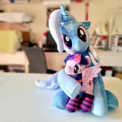 Size: 1024x1024 | Tagged: safe, artist:nekokevin, trixie, twilight sparkle, alicorn, pony, unicorn, 4de, clothes, duo, female, floppy ears, hug, irl, looking at you, mare, photo, plushie, raised hoof, sitting, size difference, smiling, socks, spread wings, striped socks, twilight sparkle (alicorn), underhoof, wings